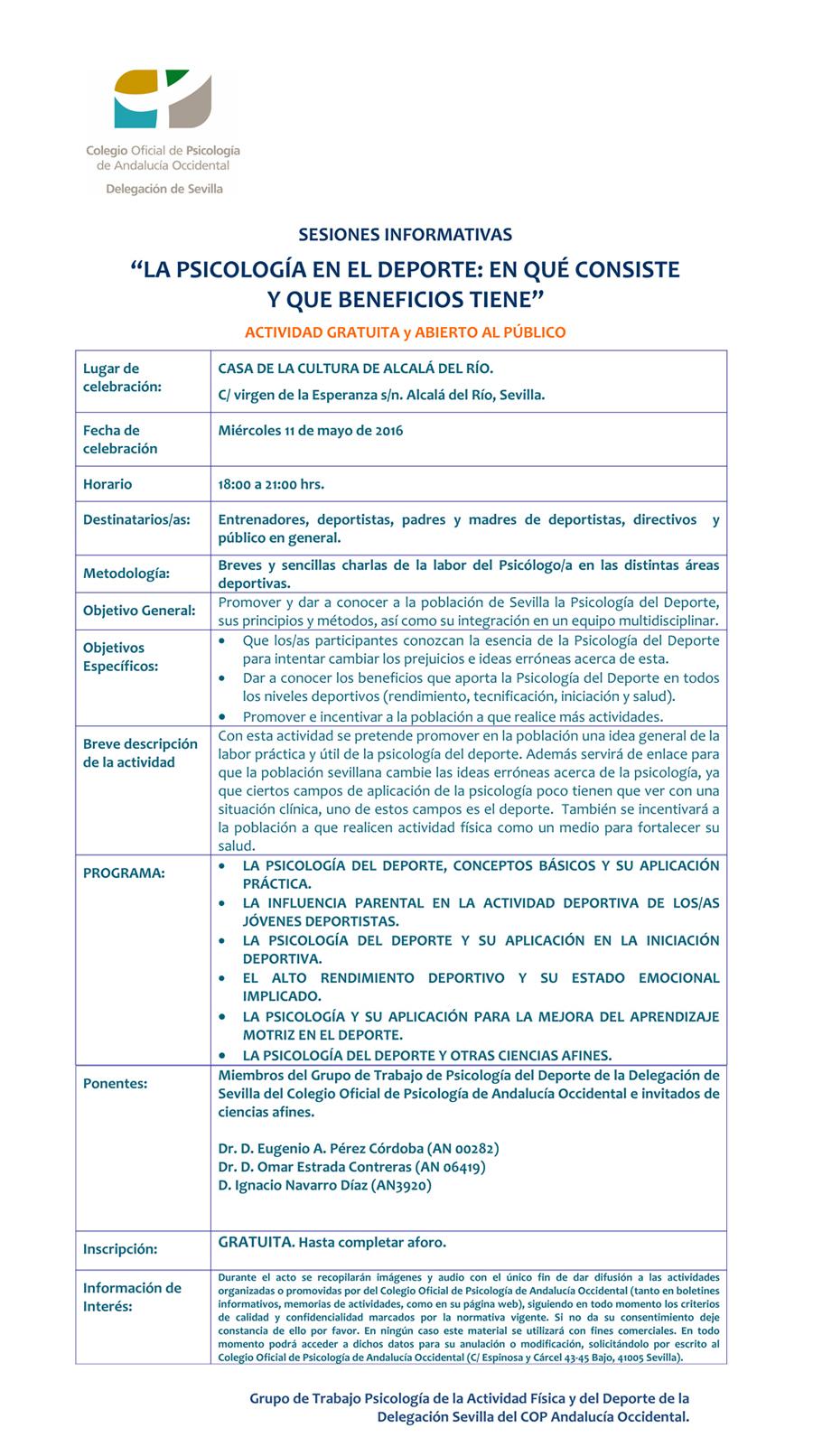SESIONES INFORMATIVAS Alcalá 11-05-2016